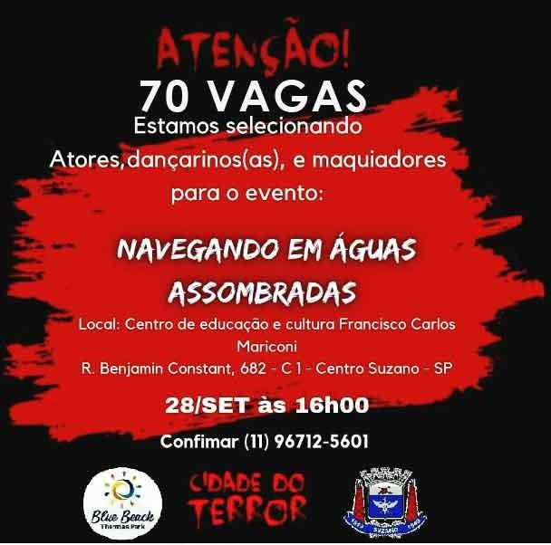 70 VAGAS PARA ATORES, DANÇARINOS E MAQUIADORES.